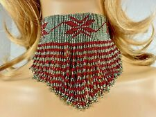 STATEMENT HANDMADE ETHNIC BEADED GRAY MAROON BEADED CHOKER NECKLACE N9/1
