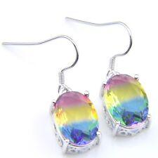 Rainbow Oval Cut Woman Bi Color Tourmaline Gemstone Silver Dangle Hook Earrings