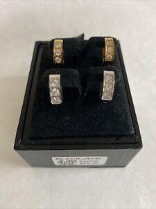 BLACKJACK Mens 2 pair Huggie Hoop Earrings Gold Silver Crystal $69.99