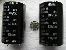 (2) 820uF 450V Nippon Chemi-Con SMH series snap in Electrolytic Capacitors