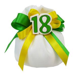 Bomboniera 18esimo Sacchetto Raso Anni Verdi Applicazione 18 Gesso