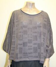 TRANSPARENTE EURO COTTON HOLEY CROPPED PULLOVER SWEATER PURPLE GREY O/S 28 $240