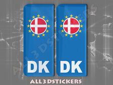 2x3D Sticker Resin Domed Euro DENMARK Number Plate with Flag Car Badge Adhesive