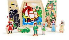 Peter Pan tinker bell captain hook play set fairy tale wooden book preschool