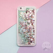 Bling Heart Glitter Liquid Soft Side Hard Back Case Cover For iPhone X 6 7 8Plus