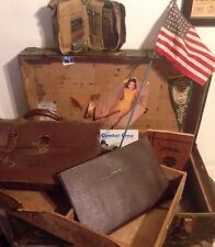 Big Lot!! WWII Era Metal Trunk Foot Locker W/ Pin up Girls Dead Reckoning Bundle