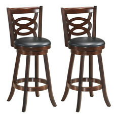 "Set of 2 Bar Stools 29"" Height Wooden Swivel Backed Dining Chair Home Kitchen"