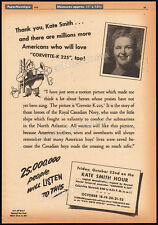 KATE SMITH Speaks / Hour__Original 1943 Trade AD promo / poster__CORVETTE K-225