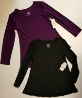 Wonder Nation Girls' *2 PACK* Black & Plum Tunic Shirt XSmall 4/5 NWT SHIPS FAST