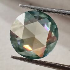 Round Rose Cut Loose Moissanite 4 Ring 1.58 Ct 7.47 Mm Vvs1 Green Blue Excellent