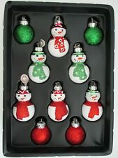 RADKO Celebrations Handcrafted Glass Snowman and Ball Ornaments Set of 10  NIB