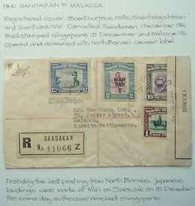 NORTH BORNEO 1 DEC 1941 REGISTERED COVER FROM SANDAKAN TO MALACCA - CENSORED