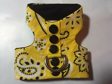 Yellow handkerchief Dog Cat Harness XS (1218) puppy black buttons
