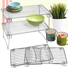 2 TIER CHROME STACKABLE METAL WIRE STAND KITCHEN SHELF FOLDABLE RACK ORGANIZER