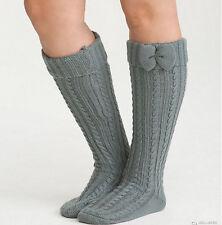 New Torrid Bow Knee High Gray Marled Knit Foldover Socks Size 10-13