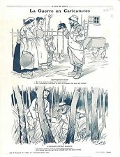 Caricature Guerre Poilus Soldats Casque à pointe Pickelhaube War Boches 1915 WWI