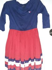 Tommy Hilfiger Girls Size 4/ 4T Dress 3/4 sleeve  red white and blue dress