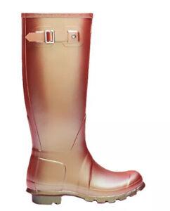 Ladies Hunter Tall Nebula Metallic Wellington Boots Rhythmic Pink Orange UK 5