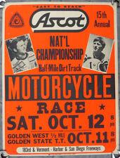 1970's Motorcycle Vtg Race Poster Sign Harley Kenny Roberts Yamaha Ascot Bsa Ama