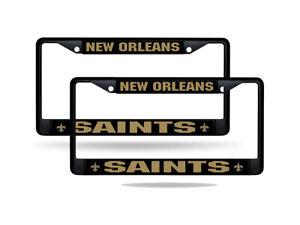 New Orleans Saints Black Metal (2) License Plate Frame Set