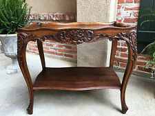 Antique French Carved Oak Side End Table Louis XV Cabriole Library Nightstand