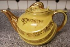 Vintage Hall Pottery 6 Cup Teapot, Yellow with Gold Trim