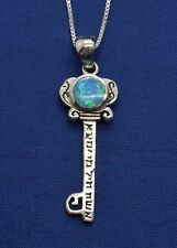 "Sterling silver Kabbalah Scripture key pendant Opal 18"" necklace ISRAEL"
