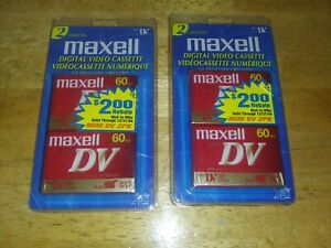 2 Packs of Maxell Mini DV Digital Video Cassettes - 60 minutes (2 per pack)