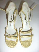 Women's BETTYE MULLER Mustard Yellow & White Wedge Heeled Sandals SIZE 7M
