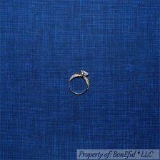 BonEful FABRIC FQ Cotton Quilt Blue Navy Dark Royal Calico Blender Stripe Check