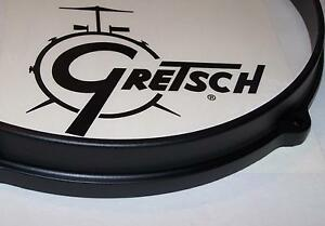 "Gretsch USA Drum Hoop Die Cast Satin Black Finish 14"" 8 Hole Batter Side ISSUES"
