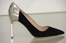 NEW Manolo Blahnik BB 105 Suede Black Silver Heels Pumps Patent Shoes 39.5 41.5