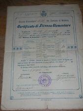 DIPLOMA 1922 comune di modena CERTIFICATO di LICENZA ELEMENTARE scuola MASCHILE