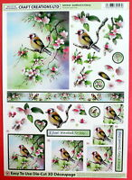 "A4 DIE CUT 3D PAPER TOLE DECOUPAGE ""GOLDFINCH"" SHEET NO CUTTING EASY DCD558"