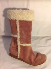 Ikons Pink Mid Calf Suede Boots Size 7