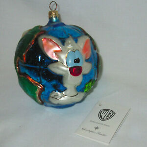 Vintage Pinky & The Brain Radko Glass Christmas Tree Ornament Ball World Globe
