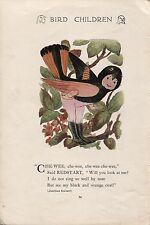 Elizabeth Gordon's Bird Children: Redstart. M.T.Ross 1912 lithograph print