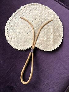 Vintage Retro Rattan Bamboo Palm Leaf Heart Hand Fan Cane Handle Wall Hanging