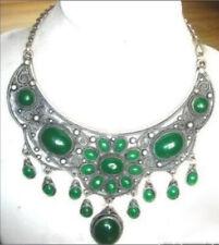 Beautiful Natural Green Jade Gemstone Tibet Silver Pendant Necklace AAA