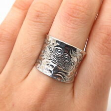 925 Sterling Silver Hammered Finish Concave Floral Design Wide Ring Size 7.5