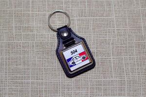 Peugeot 504 Keyring - Leatherette & Chrome Keytag