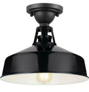 Progress Lighting Perry Court 1 Light Black Outdoor Semi Flush Light P550073-031