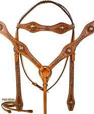 USED GATOR CROSS WESTERN LEATHER HORSE TACK SET BRIDLE REINS BREASTPLATE