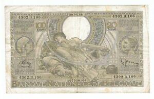 BELGIUM BANKNOTE 100 FRANCS/20 BELGAS 1938