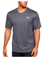 Under Armour Men's Velocity V-neck UA Short Sleeve Silver Grey Size 1327969 002