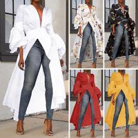US Womens Puff Sleeve Baggy Long Maxi Tops Ladies Casual Kaftan Tops Shirt Dress