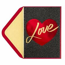 Papyrus Valentine's Day Card - Lettering in Heart BLACK GLITTER LOVE - Dramatic!