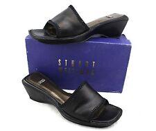 STUART WEITZMAN Pasodoble Black Bronze Leather Stitching Slides Sandals Heels 11