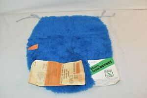 Vintage NEW 60s 70s Shag Oblong Carpet Blue Bathroom Toilet Seat Lid Cover NWT