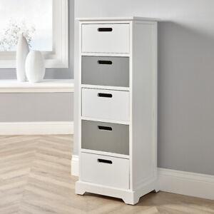White Grey Wooden 5 Drawer Chest Tallboy Storage Unit Bedroom Organiser Storage